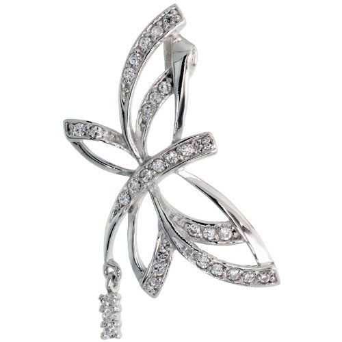 Sterling Silver Butterfly Slide / Pendant w/ Pave CZ Stones, 1 1/2 inch (39 mm) tall Sabrina Silver. $49.43