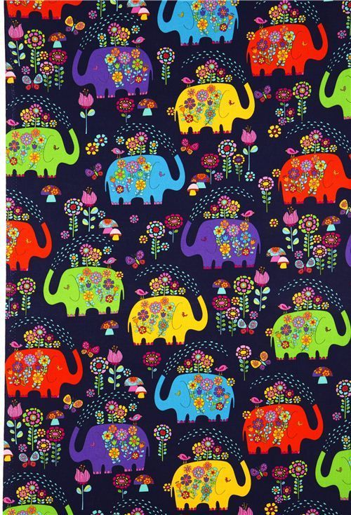 Dark Blue Elephant With Flowers Fabric Timeless Treasures