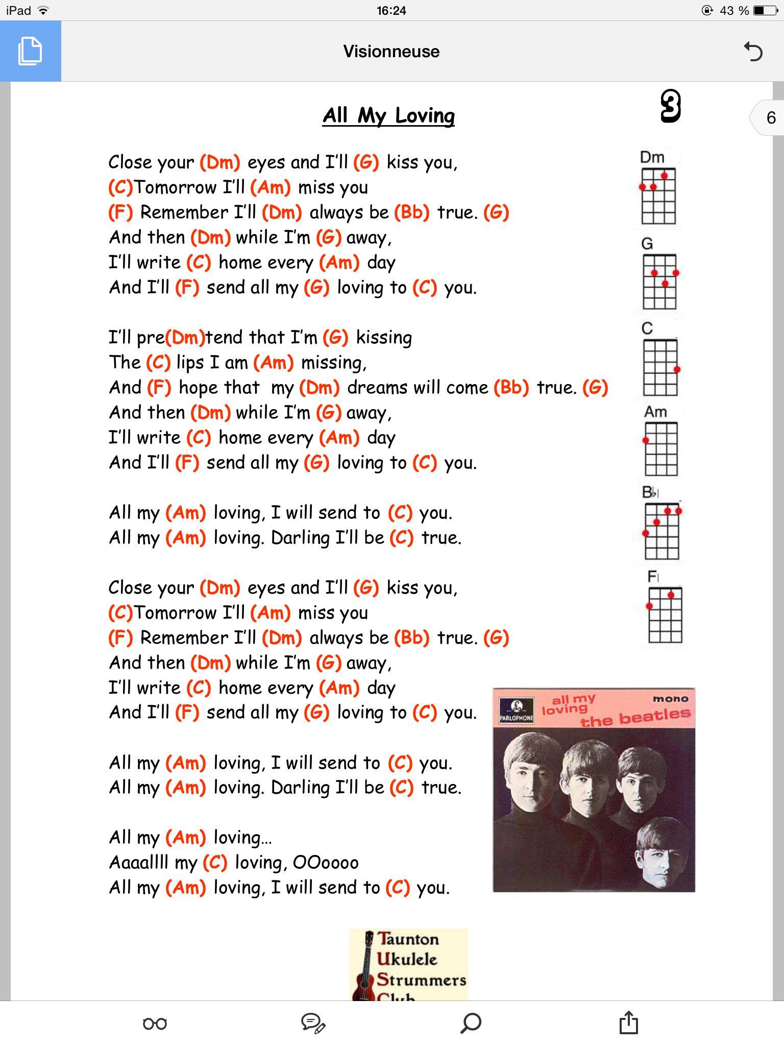 All My Loving Beatles Ukulele Chords Uke T Beatles