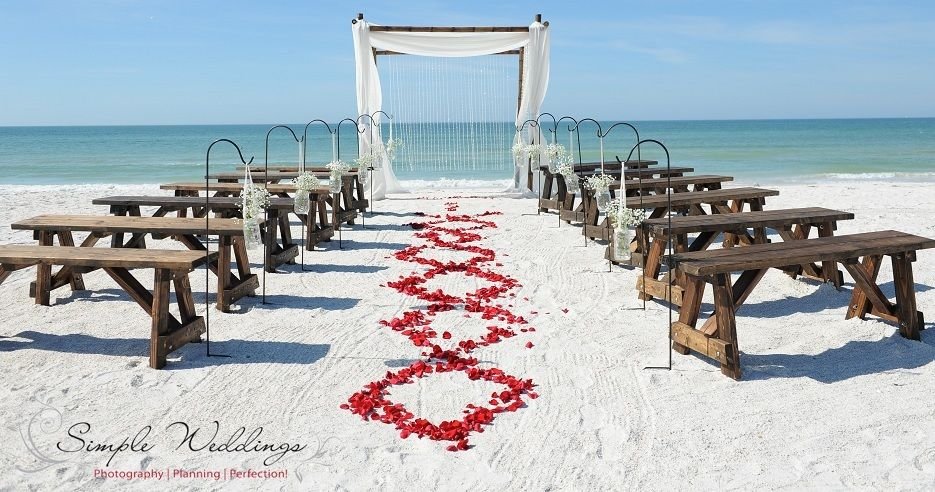Florida Beach Wedding With Bamboo Canopy And Rustic Wooden Benches On P A Grille
