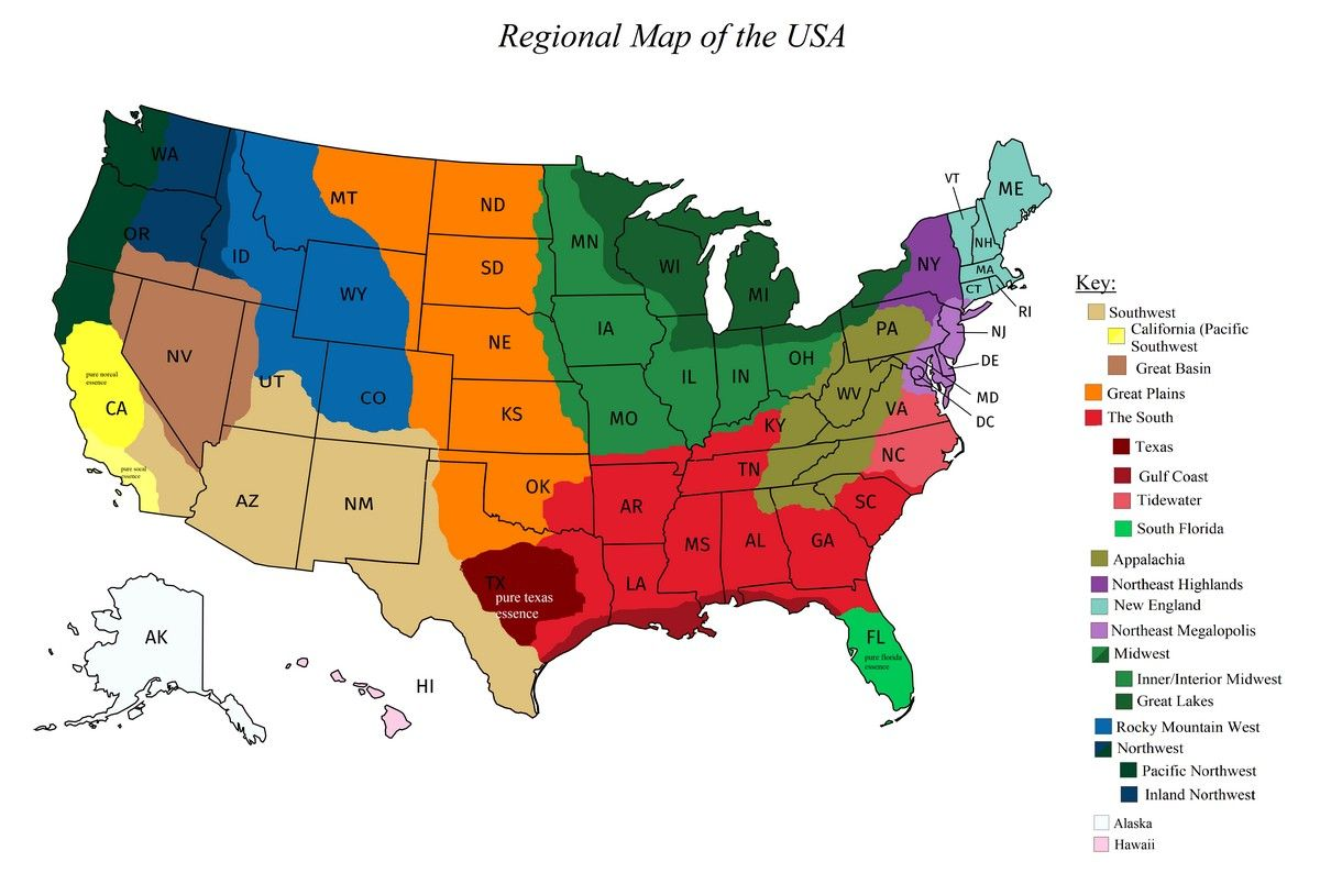 Region Of The United States Map Regions of the United States   Vivid Maps | United states map