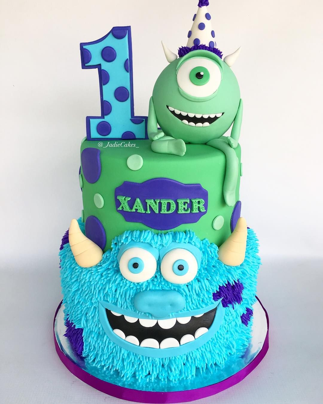 Tremendous Jade On Instagram Monsters Inc First Birthday Cake Personalised Birthday Cards Veneteletsinfo
