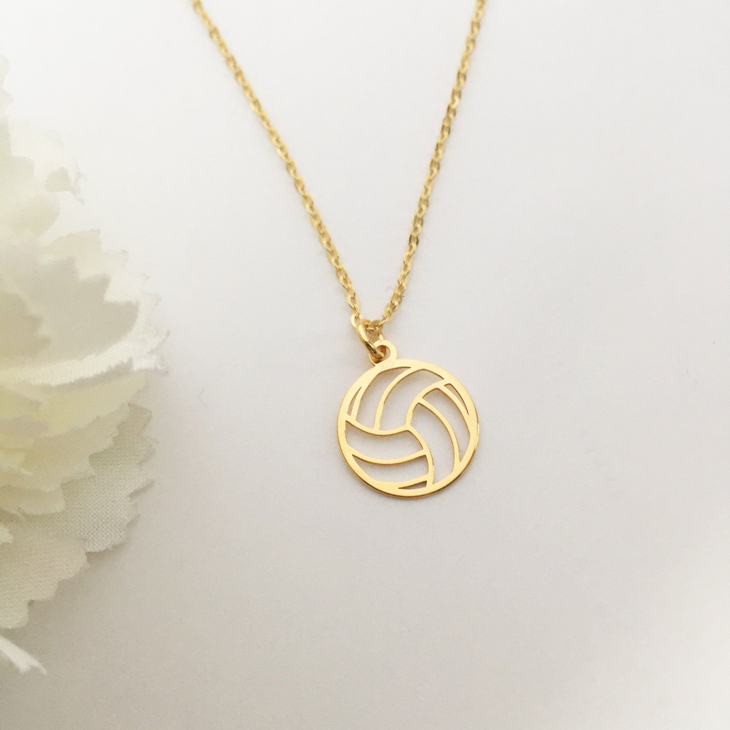 Volleyball Necklace Ball Necklace Gold Volleyball Etsy Volleyball Necklace Volleyball Jewelry Gold Necklace