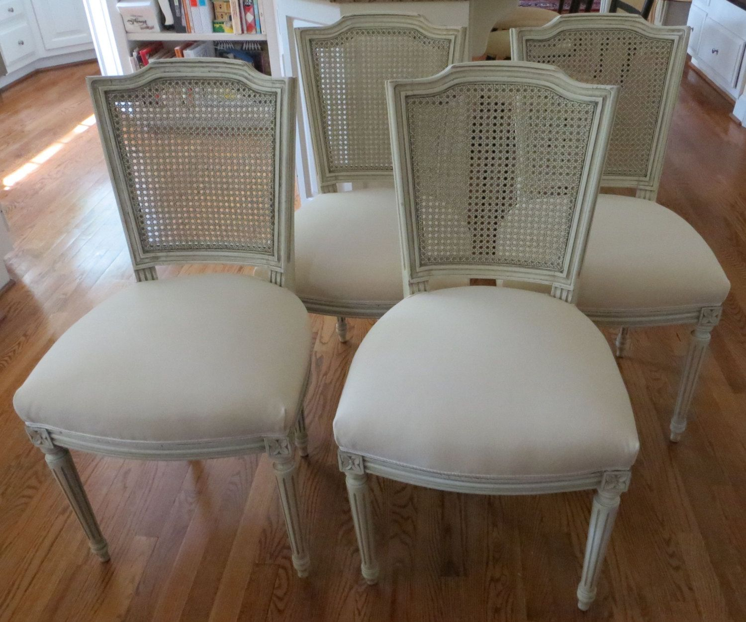 Four Italian Antique Caned Back Dining Chairs