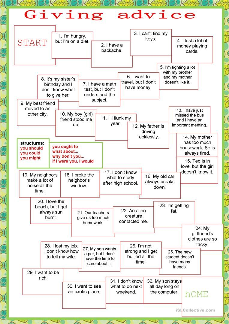 Board game   giving advice   English ESL Worksheets for distance ...