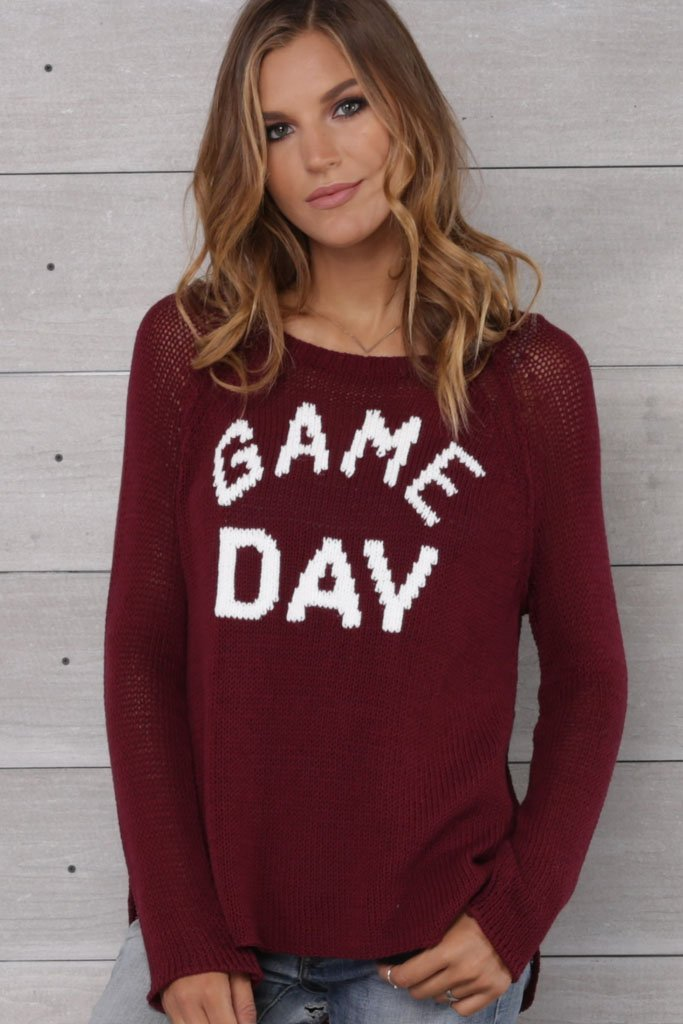 Womens Game Day Raglan Cotton Sweater Wooden Ships Knits Things