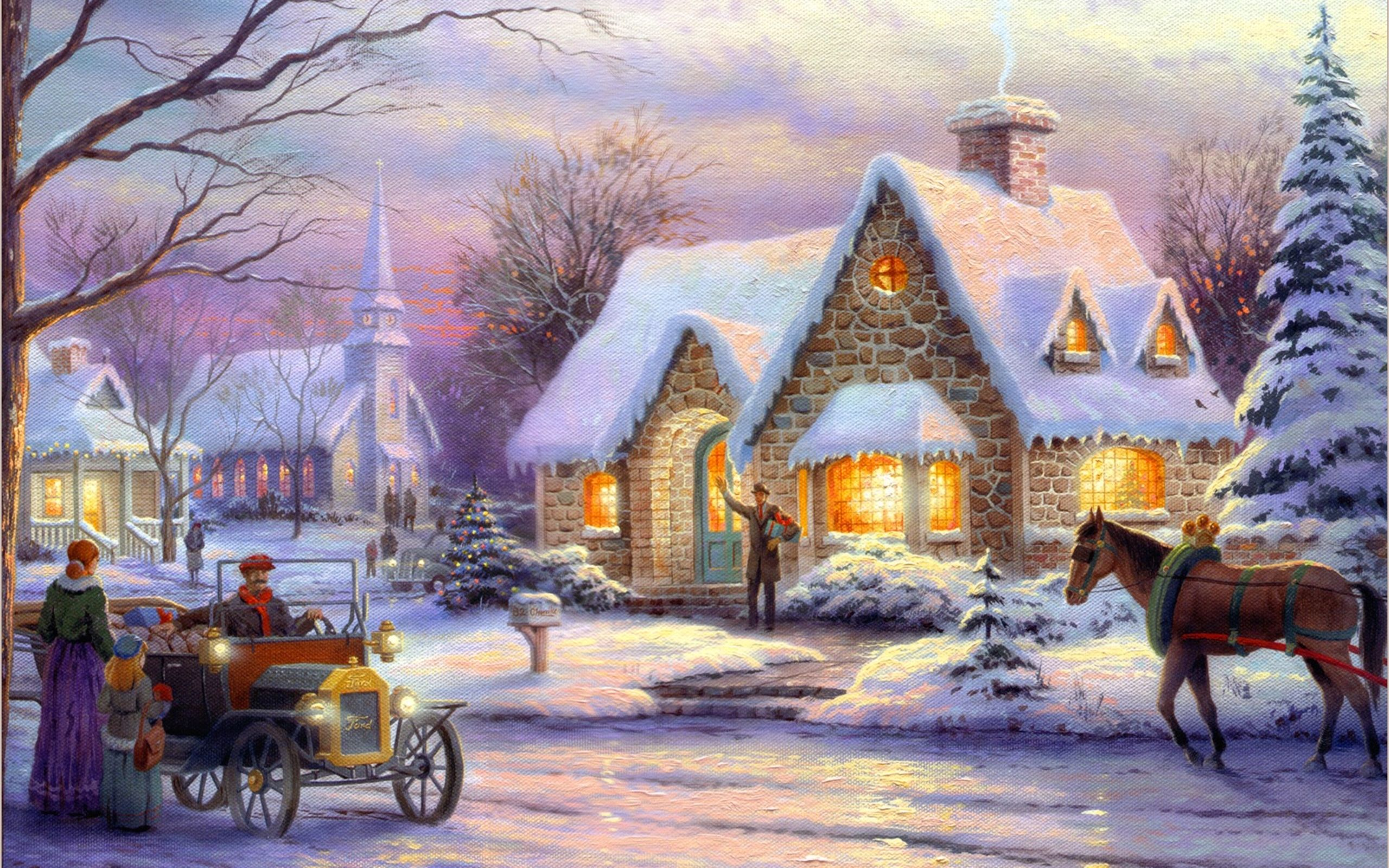 christmas paintings wallpaper thomas kinkade wallpaper memories of christmas art painting winter