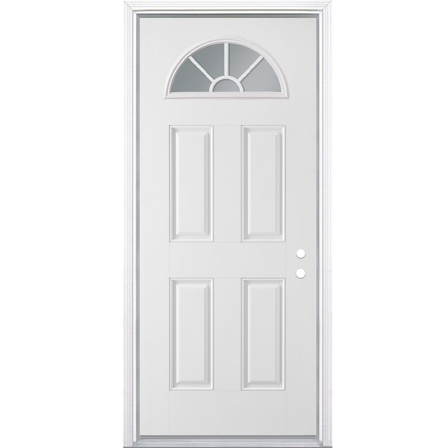 Reliabilt 36 In X 80 In Steel 1 4 Lite Left Hand Inswing Primed Prehung Single Door Brickmould Included Lowes Com Entry Doors Steel Entry Doors 30 Inch Exterior Door