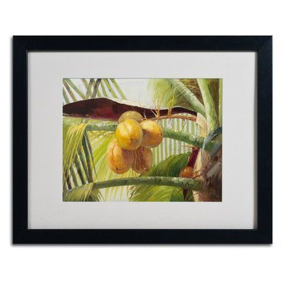"""Trademark Art 'Coconut Palm I' by Victor Giton Framed Painting Print Frame Color: Black, Size: 16"""" H x 20"""" W x 0.5"""" D"""