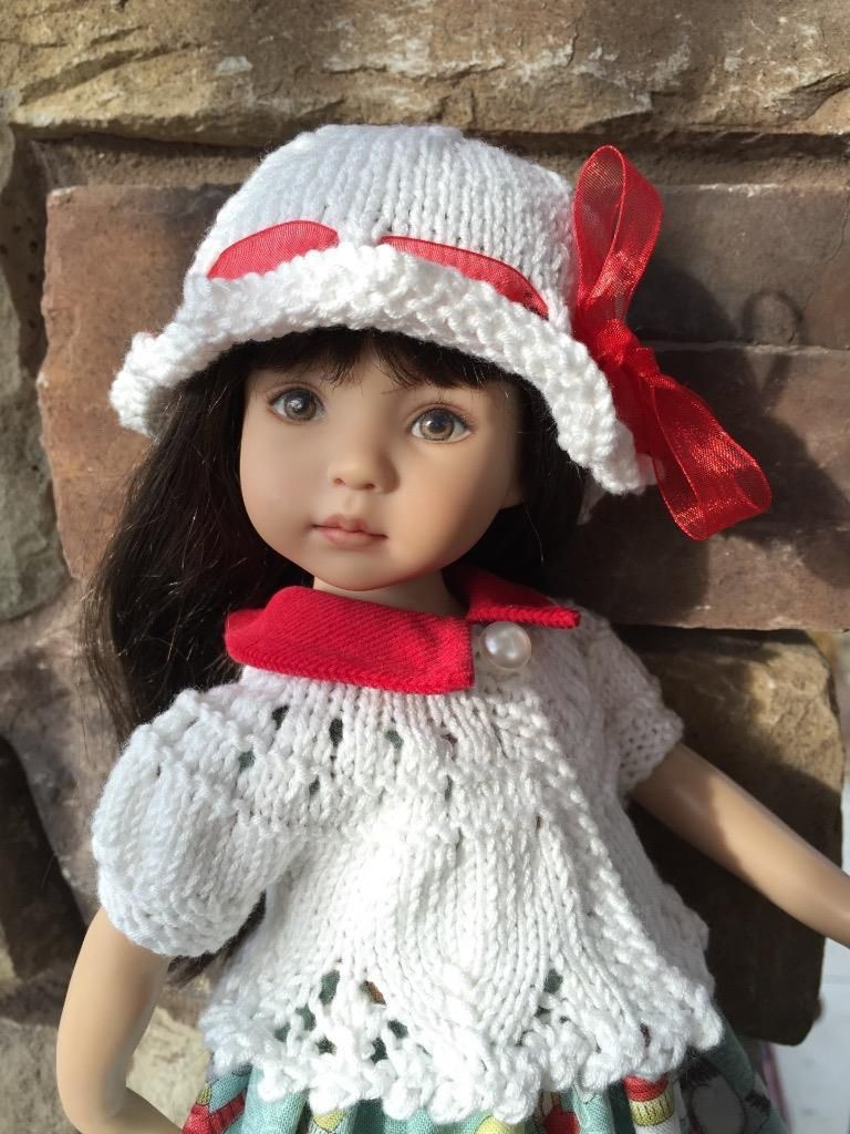 """Pretty White Sweater Hat by Tuula Fits 13"""" Effner Little Darling to A """"T"""" 