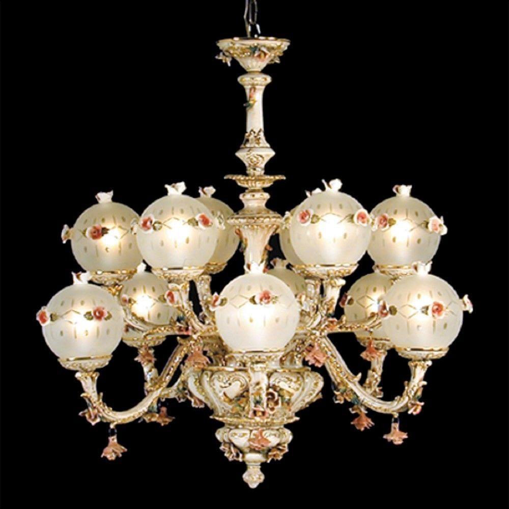 Capodimonte italian porcelain chandelier 12 light new capodimonte italian porcelain chandelier 12 light new arubaitofo Images