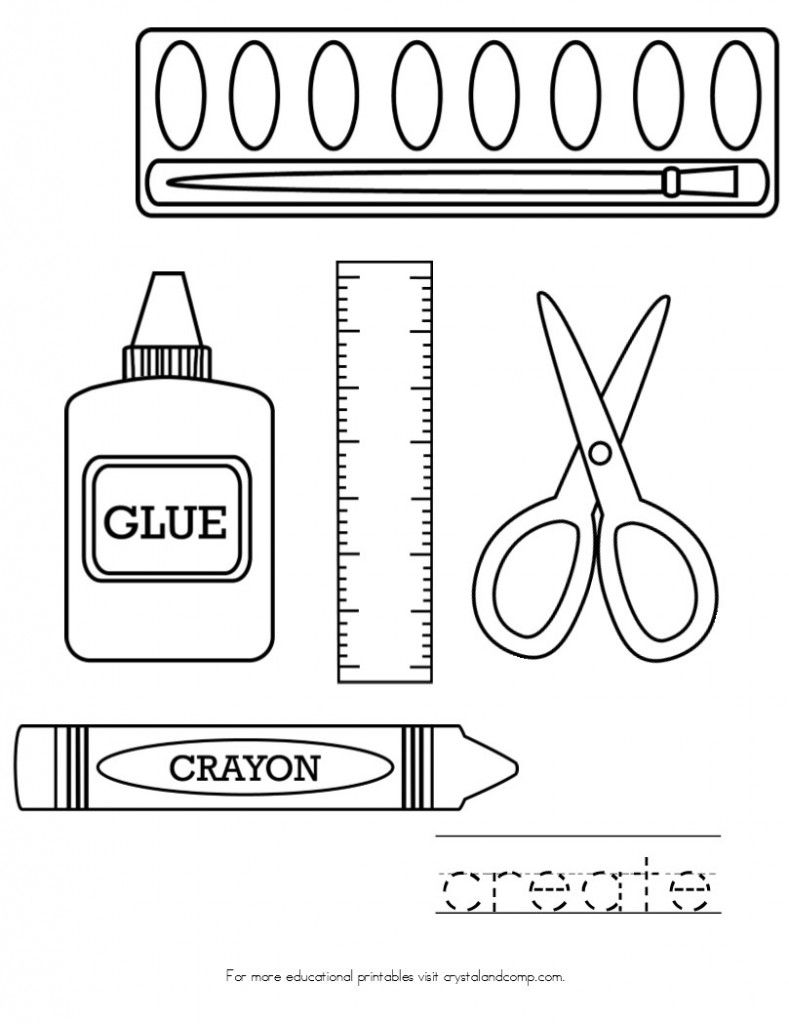 School supplies coloring pages - Hellokids.com | 1024x789