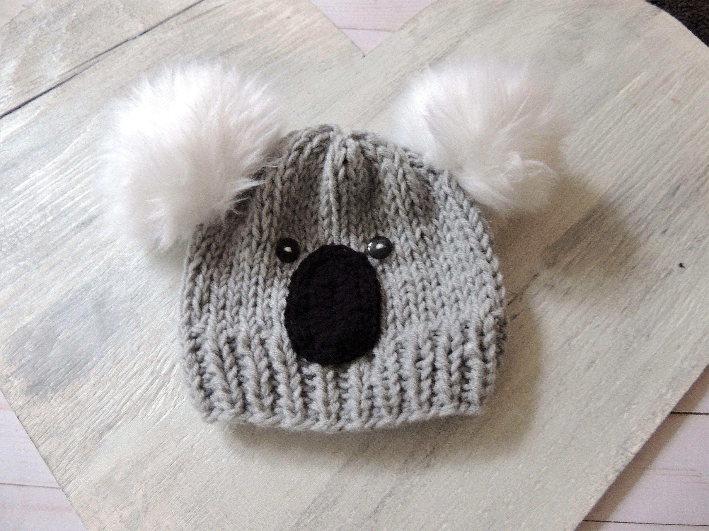 Excited To Share This Item From My Etsy Shop Knit Koala Beanie Koala Hats Koala Bear Beanie Baby Koala Ha Baby Hats Knitting Kids Animal Hats Crochet Bear