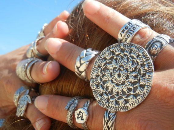 bague en argent hippie