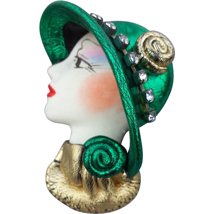 Vintage Lady Face Brooch 1920's Style Jeweled Hat.