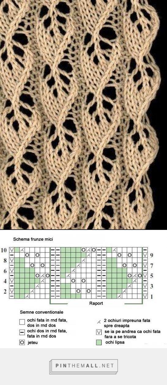 Little Leaves lace knitting pattern. Chart key in Romanian.   tricot ...
