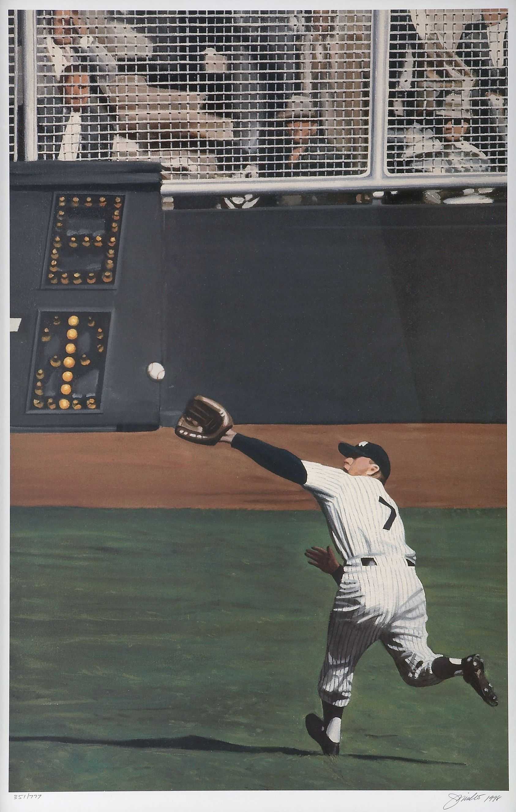 1998 Mickey Mantle Perfect Catch By Andy Jurinko Mickey Mantle Baseball Yankees Baseball