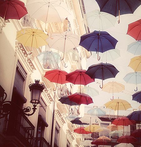 """art installation with umbrellas - how cool would it be to turn this idea into a """"tent"""" for an event?"""