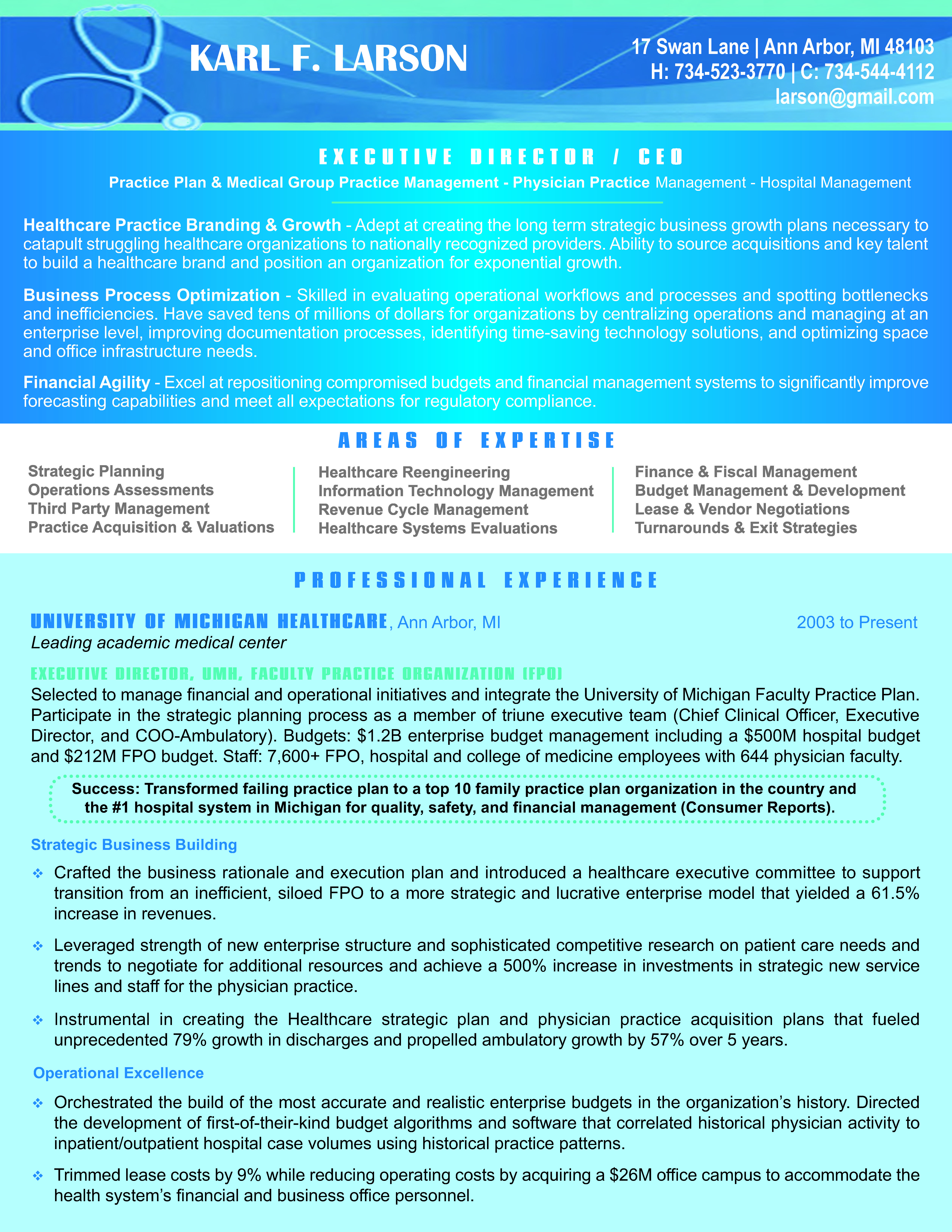 Healthcare Executive   Resumes & Cover Letters   Cover letter for