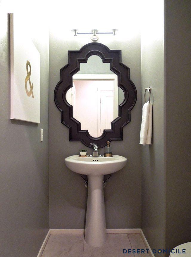 Great Inspiration For Basement Half Bath Black Framed Mirror With Pedestal Sink