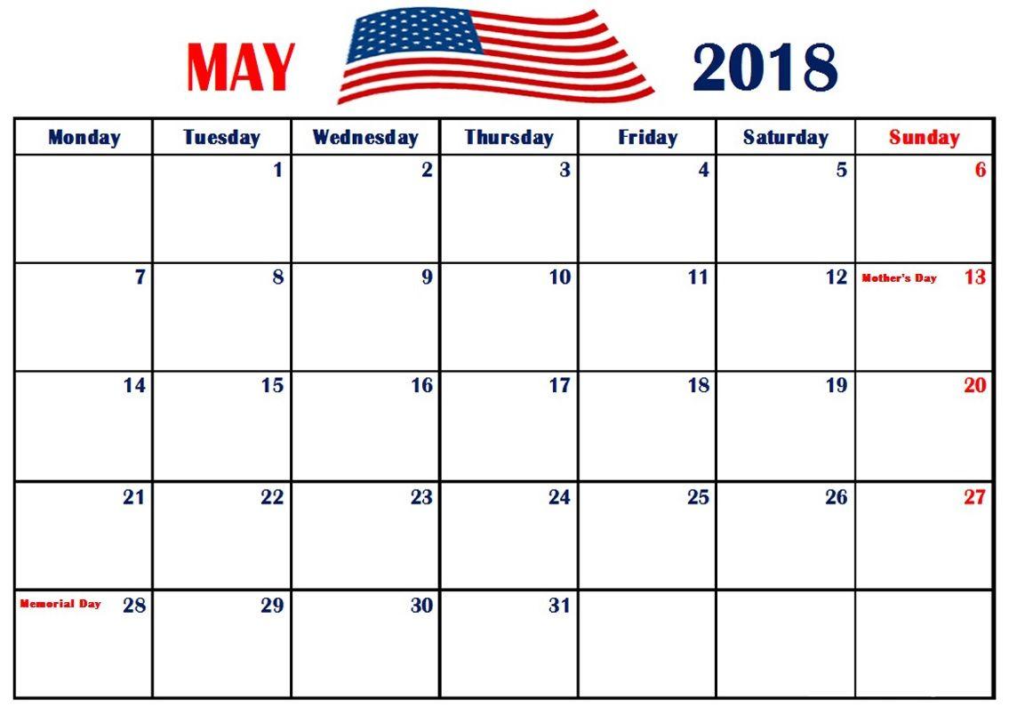 May 2018 Holidays Calendar For USA | Calendar 2018 | Pinterest
