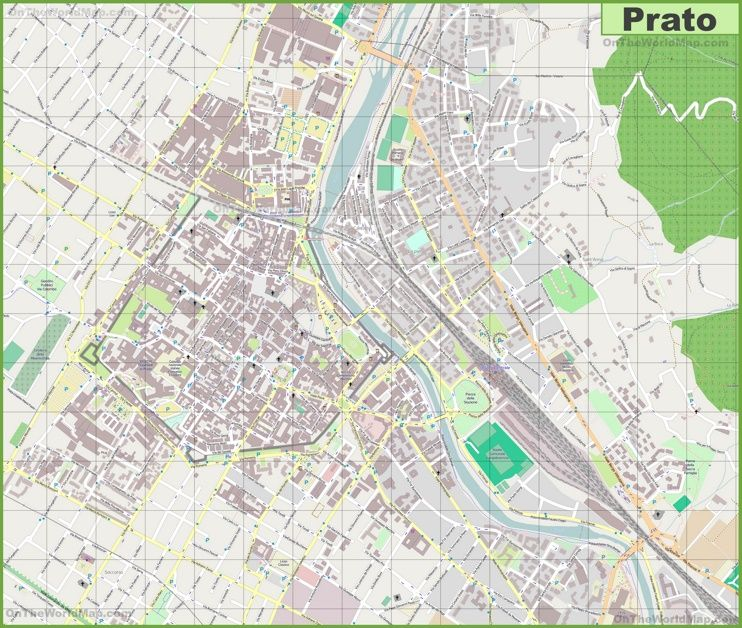 Large detailed map of Prato Interesting Maps of Italy Pinterest