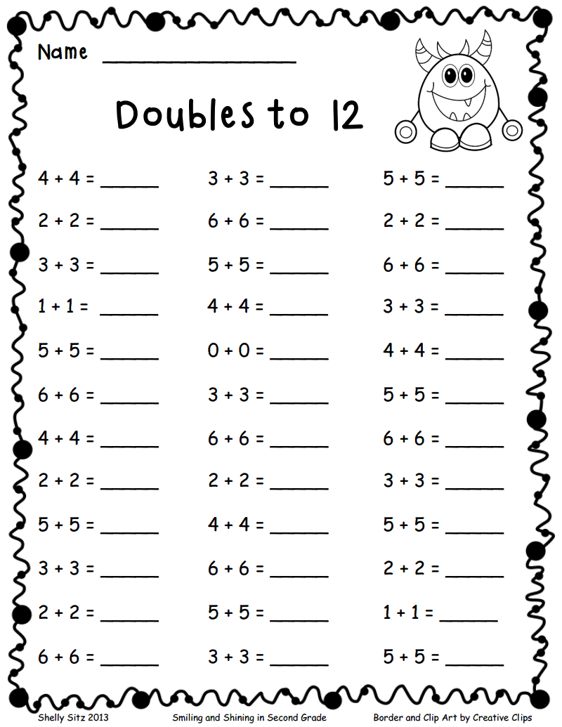 Doubles to 12.pdf   2nd grade math worksheets [ 1035 x 800 Pixel ]