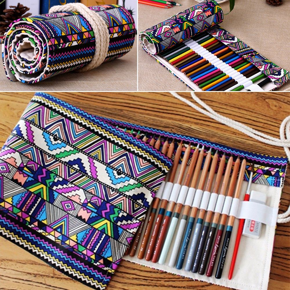 36 48 72 holes canvas wrap roll up pencil case pen bag - Organizador de lapices ...