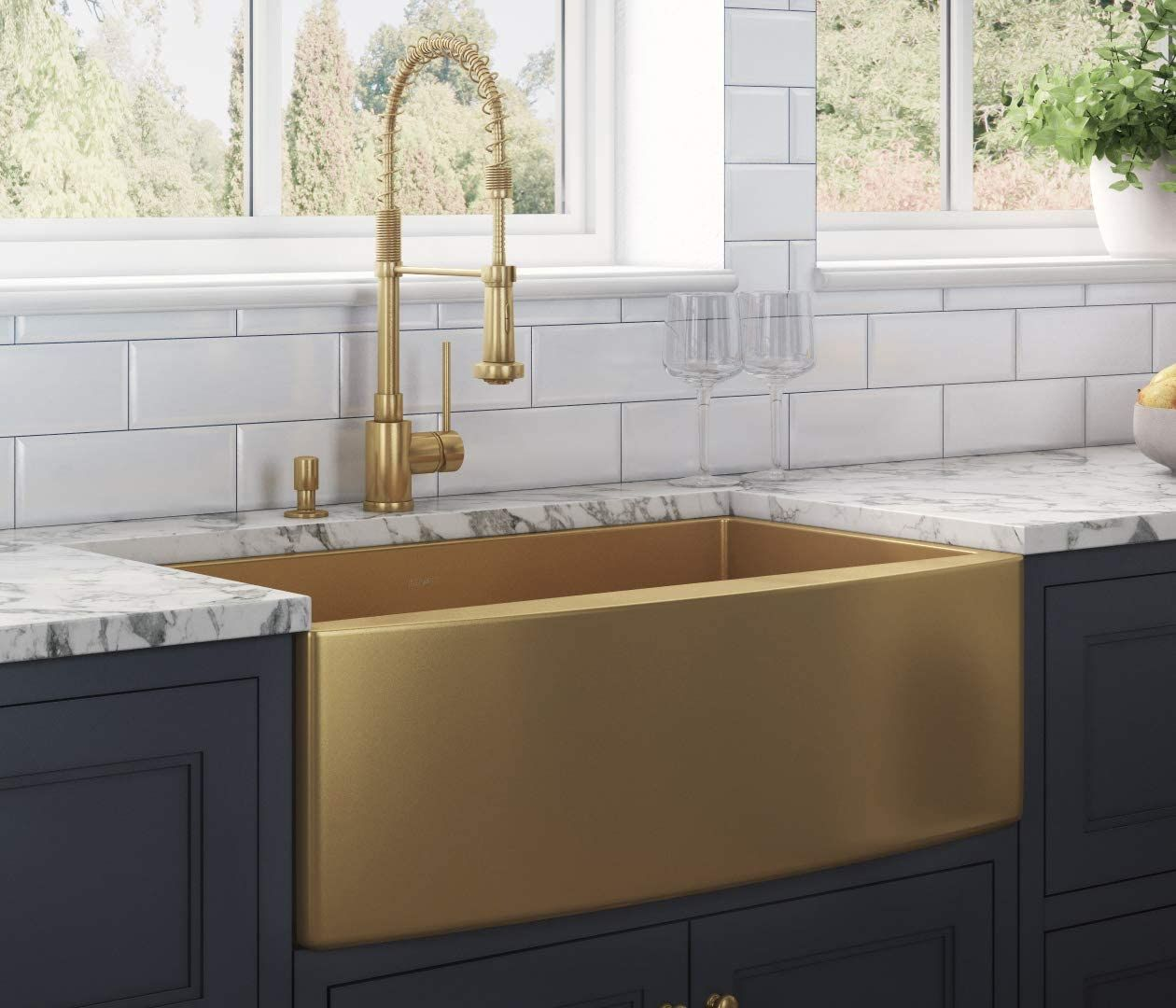 Price 459 00 Roll Over Image To Zoom In Video Ruvati Brass Tone 33 Inch Apron Front In 2020 Farmhouse Sink Kitchen Single Bowl Kitchen Sink Gold Kitchen