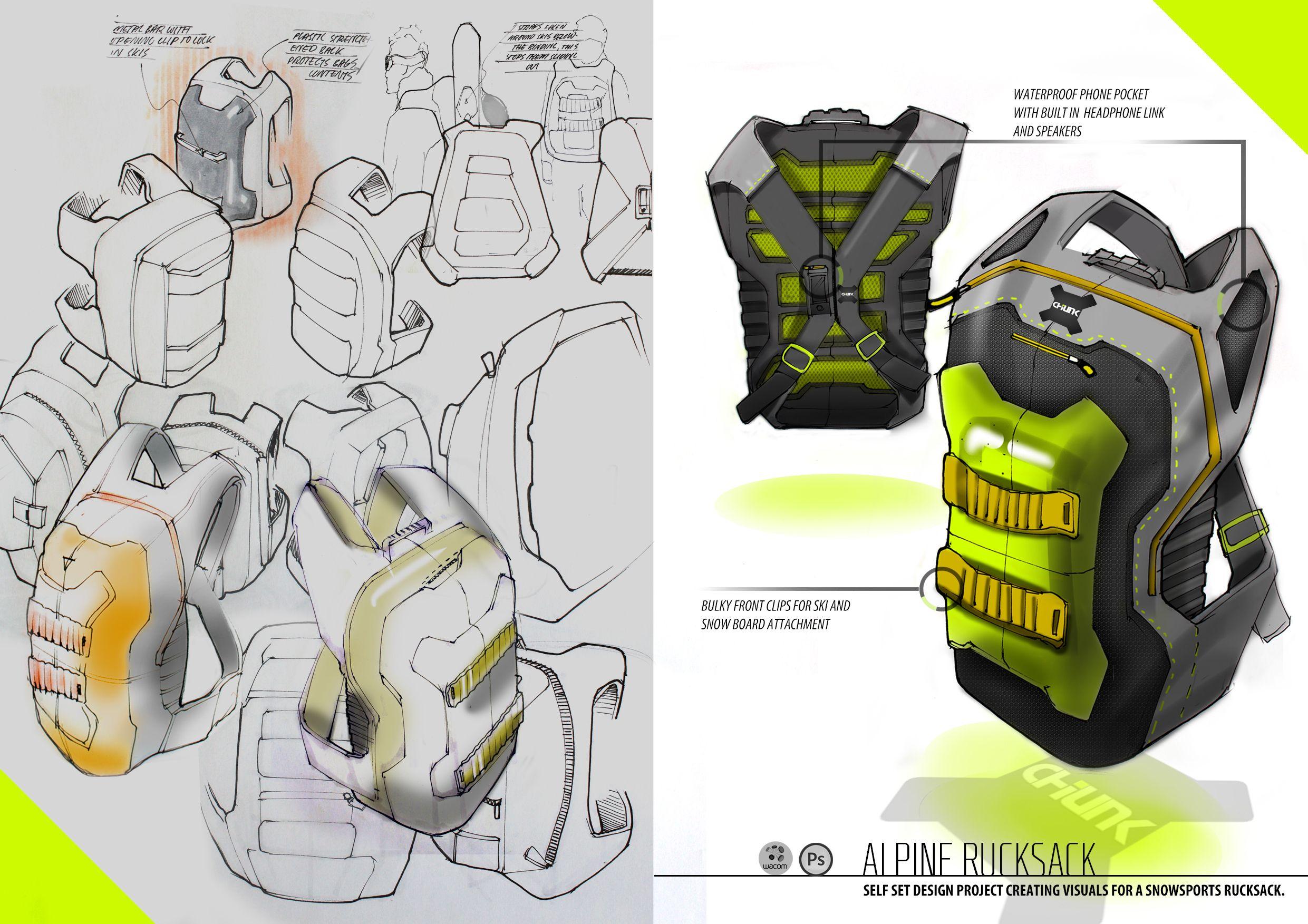Backpack  Rucksack Industrial Design concept Ideation