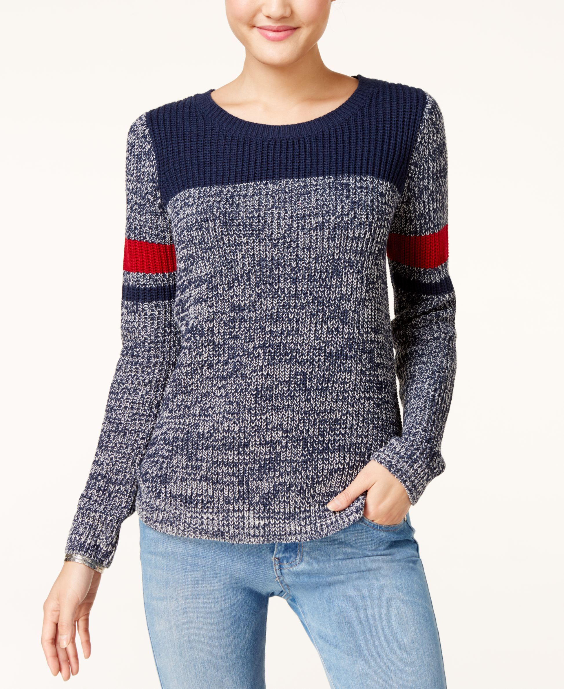 ddbfb634a8 Freshman Juniors  Marled Colorblock Pullover Sweater