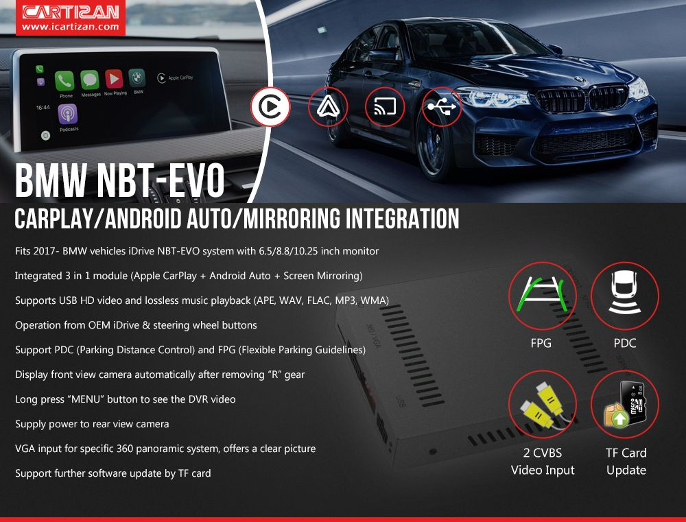 Apple CarPlay Android Auto Integration for BMW NBT-EVO