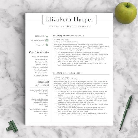 Teacher Resume Template for Word  Pages Teacher CV Template