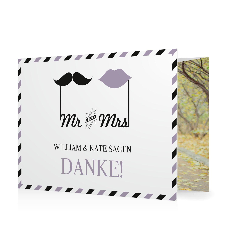 Dankeskarte Mr & Mrs in Blauviolett - Doppelklappkarte flach gewickelt #Hochzeit #Hochzeitskarten #Danksagung #Foto #modern #Typo https://www.goldbek.de/hochzeit/hochzeitskarten/danksagung/dankeskarte-mr-und-mrs?color=blauviolett&design=90000&utm_campaign=autoproducts