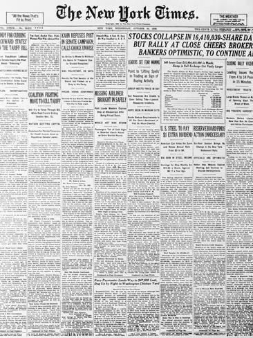 Photographic Print 1929 Cover Of New York Times Newspaper