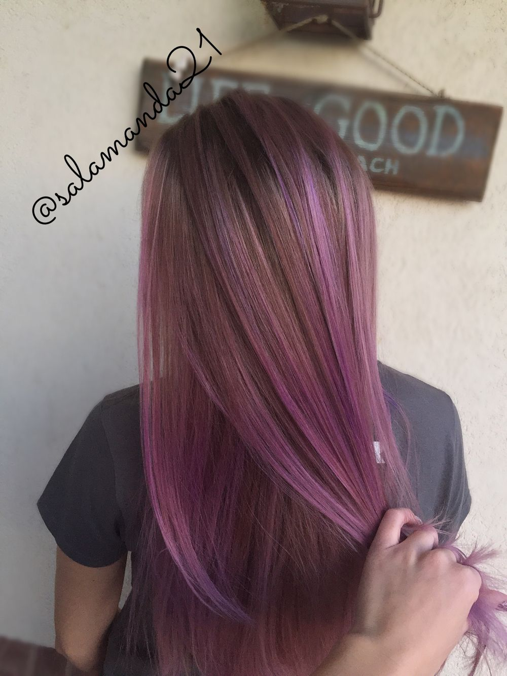 Picture of black and magenta balayage hair - Light Pastel Pink And Purple Balayage With Natural Brown Hair Done By Me Salamanda21