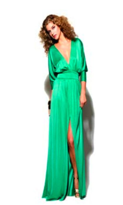Halston Heritage Deep V Evening Dress in Green  Dresses ...