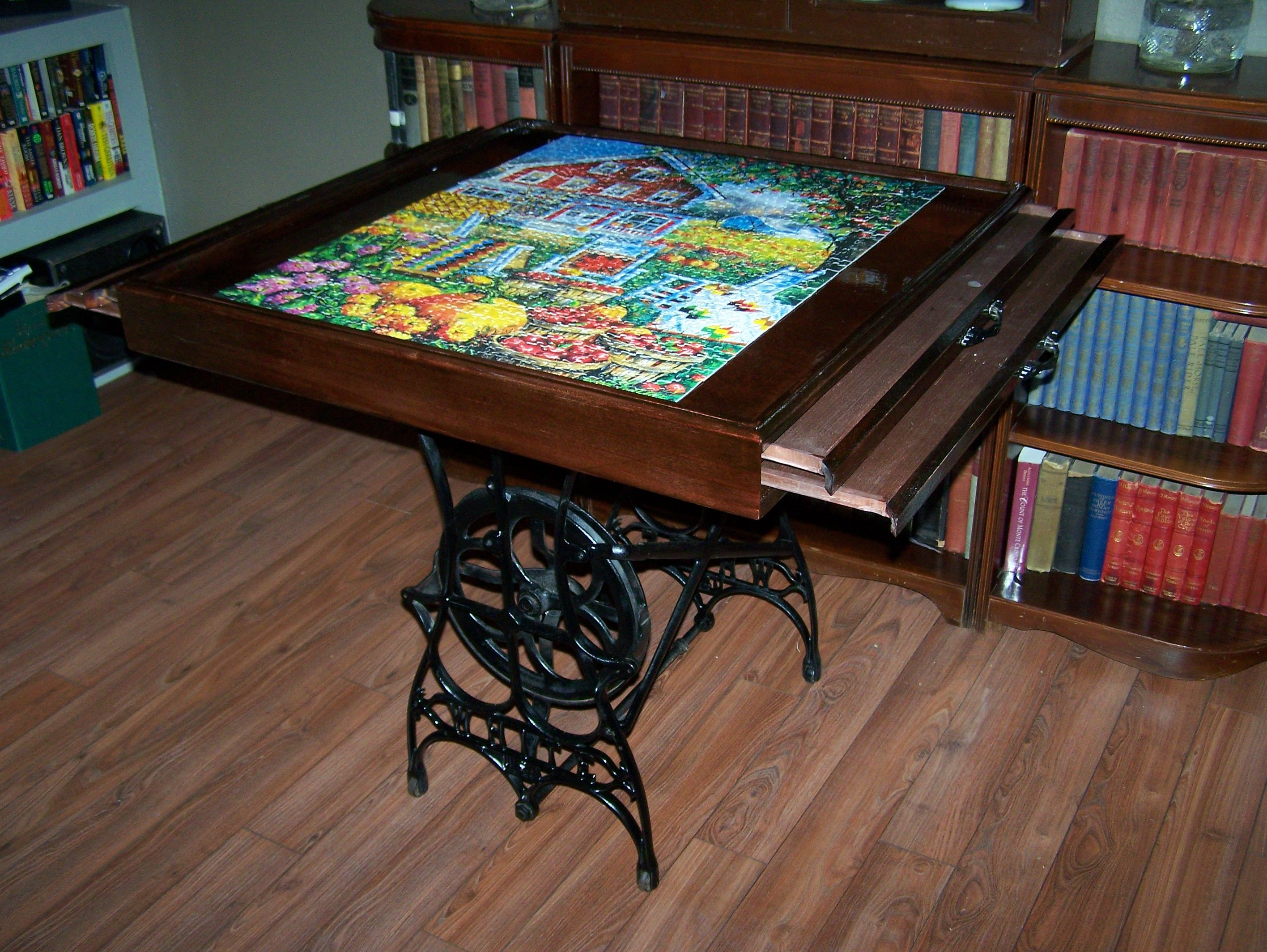 Steampunk puzzle table puzzle table project pinterest