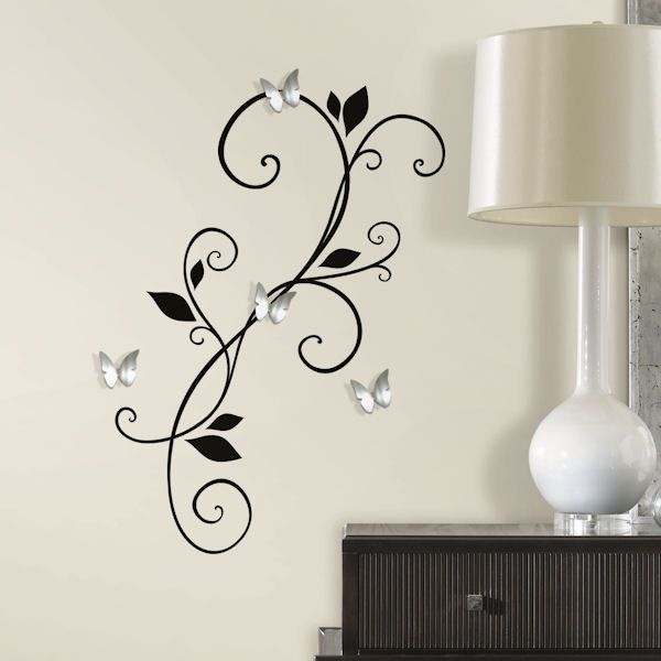 Attirant Scroll Sconce With Butterfly Mirror Wall Decals   Wall Sticker Outlet