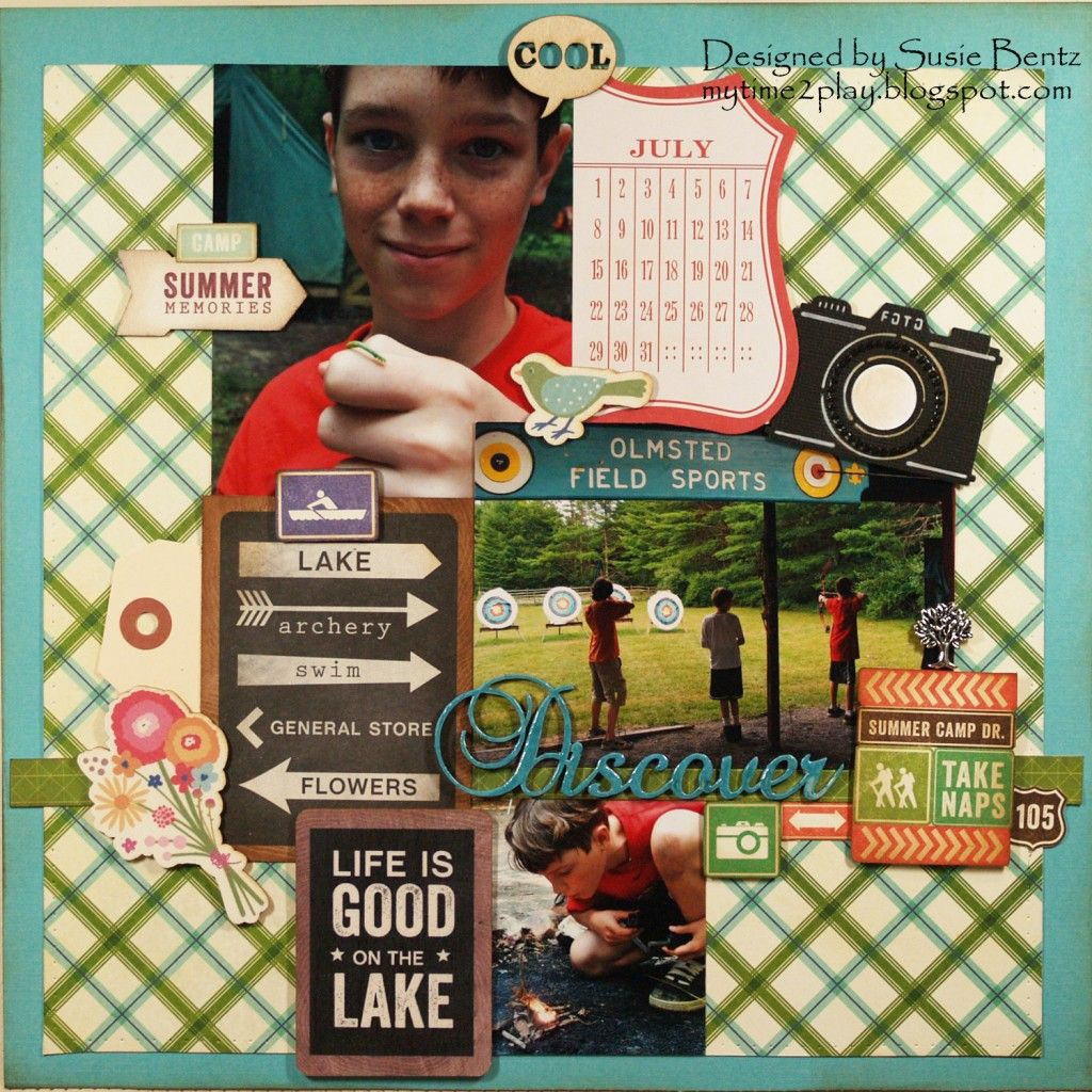 Scrapbook ideas words - Summer Camp Layout Featuring Want2scrap Fancy Chipboard Words And Nestabling By Designer Susie Bentz Scrapbooking