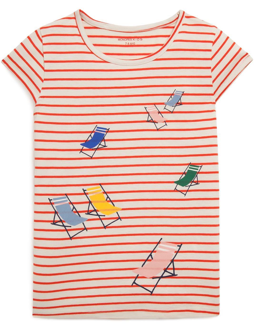 55742290d20a4 T-shirt manches courtes à rayures Monoprix Kids
