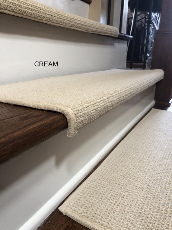 Best Padded Carpet Stair Treads Nantucket Creme Carpet 400 x 300