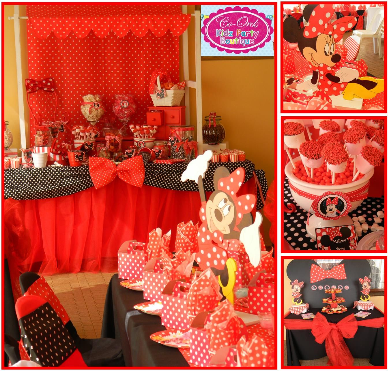 Minnie Mouse Party - kiddies set up and candy buffet in red, black