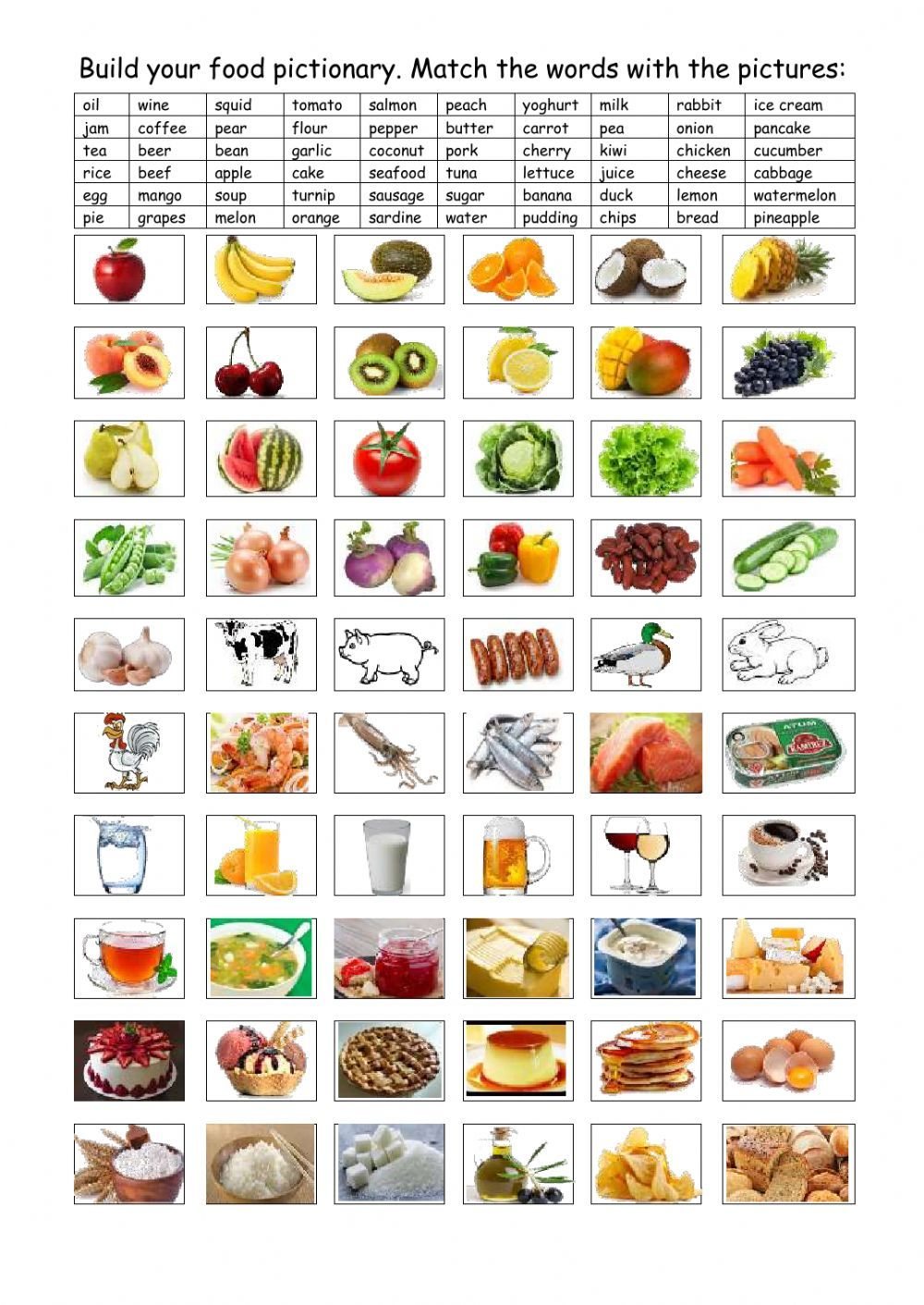 Food Vocabulary Interactive And Downloadable Worksheet