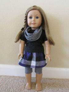 American Girl Doll Purple and Black Skirt Outfit: Grey Infinity scarf, Black T-shirt, Grey Leggings, Purple Plaid Skirt with Patterns