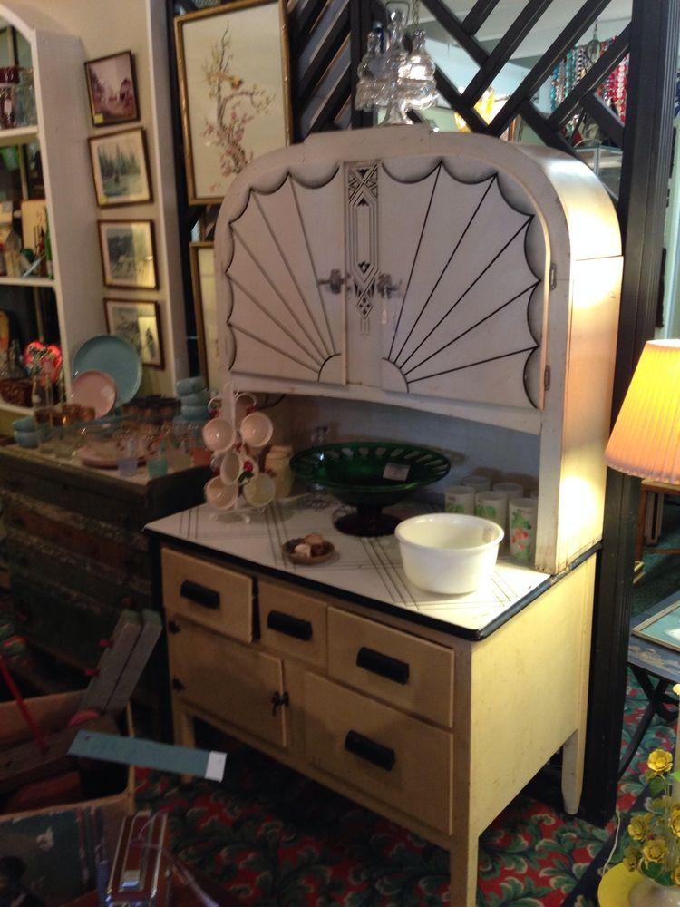 Rare Antique Kitchen Art Deco Hoosier Style Cabinet Porcelain Top Antique Kitchen Vintage Kitchen Accessories Vintage Cupboard