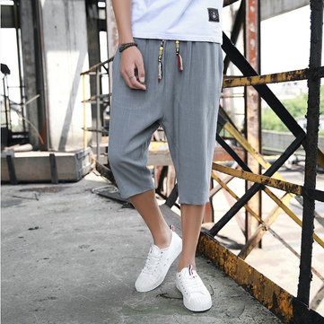 d24325a3c Mens Summer Breathable Cotton Linen Solid Color Knee Length Loose  Drawstring Casual Shorts