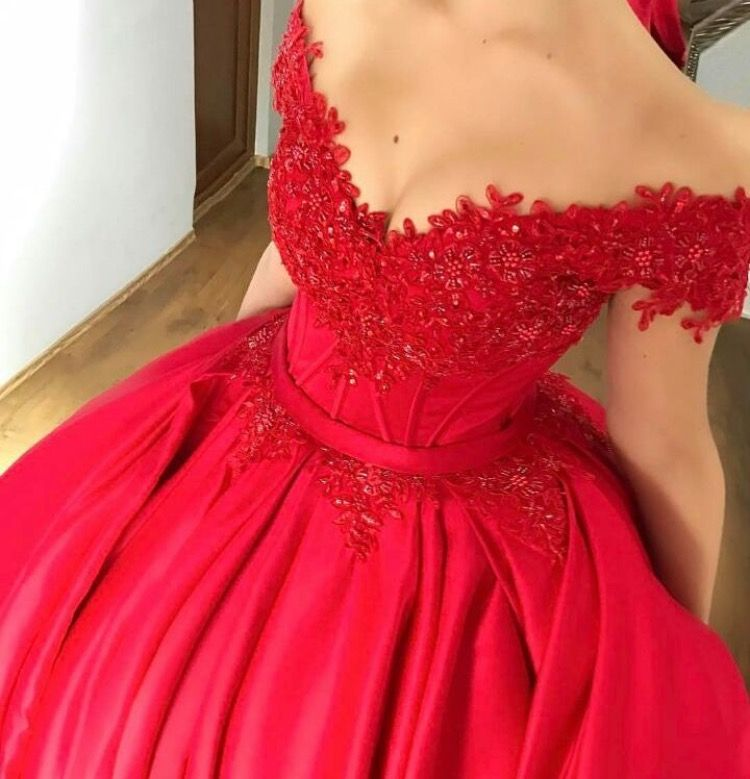 Wedding Gowns With Red: Red Wedding Dresses 2017,Cap Sleeves Ball Gowns Satin