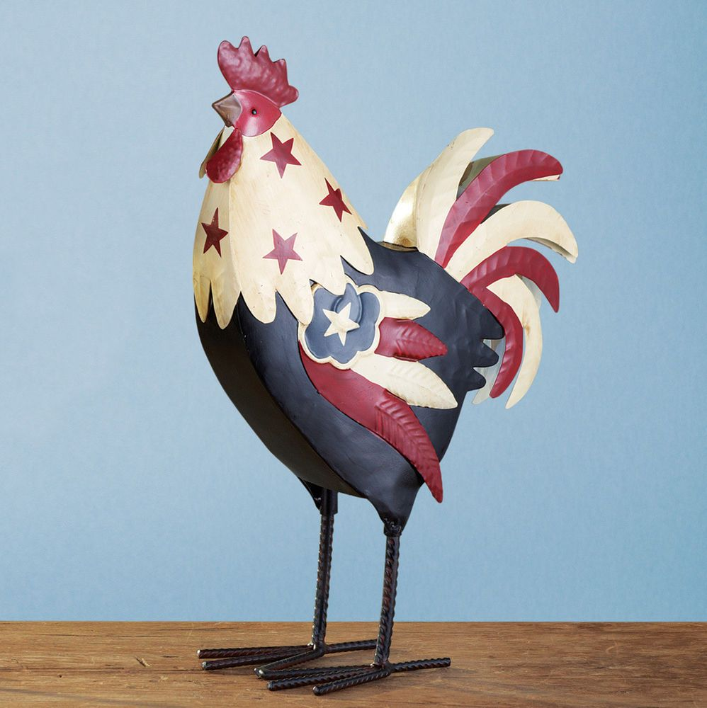 PATRIOTIC FARM ROOSTER TABLE, MANTEL, SHELF, INDOOR COUNTRY HOME ...
