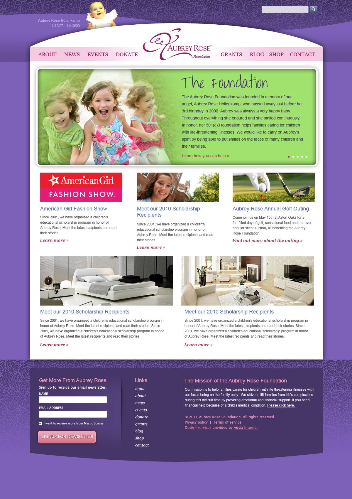 Aubrey Rose Foundation A Cincinnati Ohio Based Non Profit Website Redesign Nonprofit Webdesign Cincinnati Ohio Nonprofit Website Design Web Design